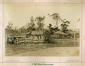 Humpy - Image: State Lib Qld 2 239273 Bark humpy on Cleveland Road, Brisbane, 1874