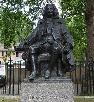 Thomas Coram - Statue of Thomas Coram, Brunswick Square, London by William McMillan, 1963