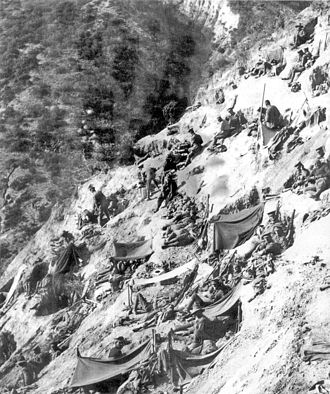 Third attack on Anzac Cove - A typical ANZAC position; this is Steele's Post in May 1915.