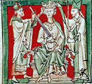 White on red Medieval drawing shows a king being crowned by two archbishops.