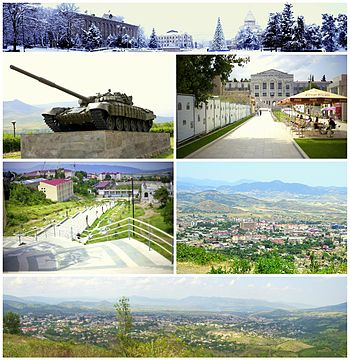From top left: Panoramic view of the Renaissance Square T-72 tank memorial of Karabakh War • Artsakh University Downtown Stepanakert • Stepanakert skyline Panoramic view of Stepanakert