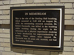 The plaque honoring the victims of the August 1970 Sterling Hall bombing, University of Wisconsin, Madison. Sterling Hall plaque.jpg