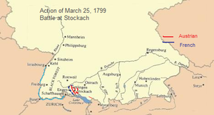 Battle of Stockach (1799) - French and Austrian troops concentrated their forces in the vicinity of Stockach on 25 March 1799.