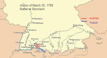 Map shows the disposition of troops around Engen and Stockach in southwestern Germany