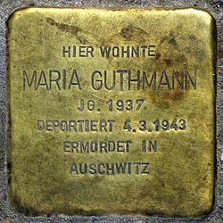 Photo of Maria Guthmann brass plaque