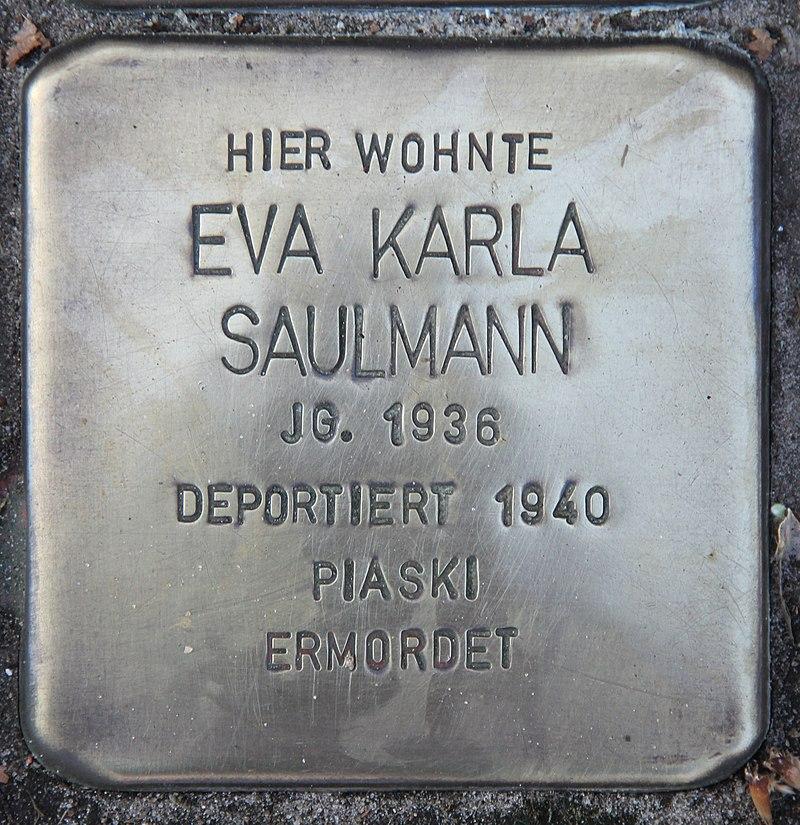 Stolperstein Friedenstr 17 (Heringsdorf) Eva Karla Saulmann.jpg