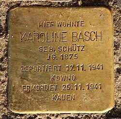Photo of Karoline Basch brass plaque