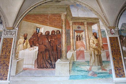 Storie di s. benedetto, 10 sodoma - Come Benedetto spezza col segno della croce uno bicchiere avvelenato 01