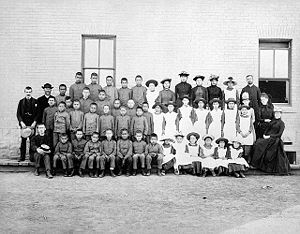 Western European colonialism and colonization - St. Paul's Indian Industrial School, Middlechurch, Manitoba, Canada, 1901. This school was part of the Canadian Indian residential school system.