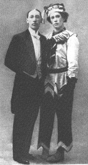 Stravinsky & Vaslav Nijinsky as Petrouchka, c....