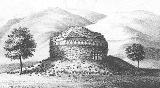 Charles Masson - The Stupa Nb.2 at Bimaran, where the Bimaran reliquary was excavated. Drawing by Charles Masson.