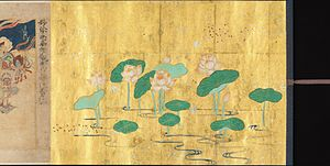 Nichiren Buddhism - An Illustrated image of the Lotus Sūtra, which is highly revered in Nichiren Buddhism. From the Kamakura period, circa 1257. Ink, color, and gold leaf on paper.