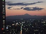 Sunset on Mount Fuji, from Tokyo, Shinjuku area.