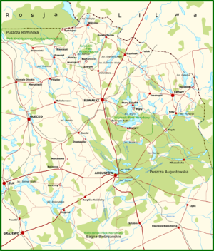Polish–Lithuanian War - Map of the Suwałki Region. Its many forests and lakes complicated the military actions.