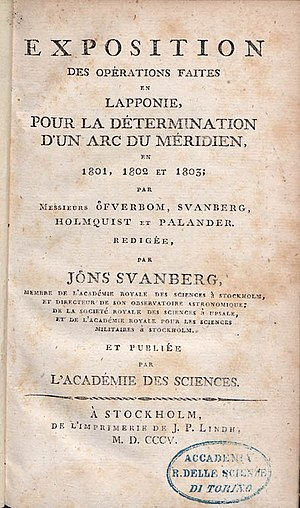 Jöns Svanberg - Exposition des opérations faites en Lapponie, pour la détermination d'un arc du méridien en 1801, 1802 et 1803, 1805