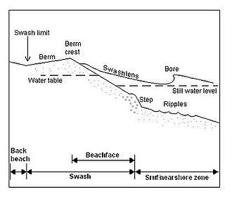 Swash - Image: Swash zone and beachface morphology