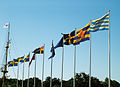 Swedish historical flags at Maritime Museum.jpg