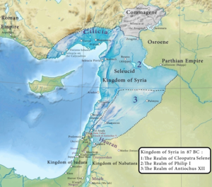 A map depicting Syria and its neighbours in 87 BC, showing the limits of Antiochus XII and his opponents' territories