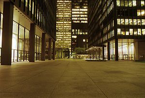 Toronto-Dominion Centre - The plaza of the TD Centre at night