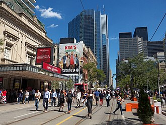 Toronto Entertainment District - The Royal Alexandra Theatre (left) during the Toronto International Film Festival. Opened in 1907, the theatre is the oldest continuously operating theatre in North America.