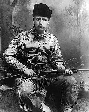 Theodore Roosevelt - Theodore Roosevelt as Badlands hunter in 1885. New York studio photo.