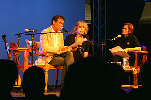 Ernst Jansz - Dutch Indies literature Professor Dr. Pamela Pattynama hosting literary talkshow with guest authors Ernst Jansz and Helga Ruebsamen at the 2011 Tong Tong Fair in the Hague.