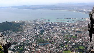 Table Bay - Table Bay, the harbour and the City Bowl from the summit of Table Mountain.