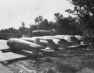 Tallboy (bomb) - Six Tallboy bombs in a bomb dump at Bardney, Lincolnshire prior to being loaded on No. 9 Squadron RAF aircraft in October or November 1944