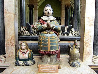 Lucius Cary, 2nd Viscount Falkland - Sculpture of Lucius Cary in front of the grave of his grandparents in the Church of St John the Baptist, Burford