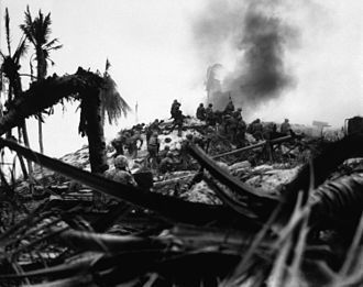 Kiribati - American Marines assault a Japanese bunker during the Battle of Tarawa, November 1943.