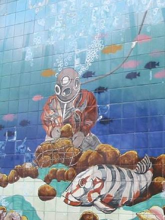 Tarpon Springs, Florida - Sponge diving mural at the Tarpon Springs Sponge Exchange.