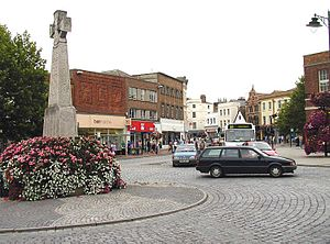 Taunton - The War Memorial and town centre, Taunton