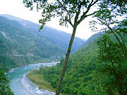 National Highway 31A winds along the banks of the Teesta River near Kalimpong, in the Darjeeling Himalayan hill region.