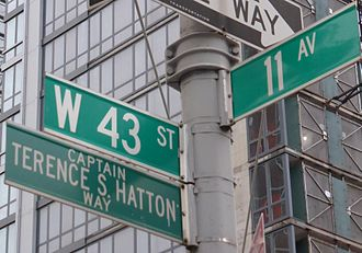 New York City Fire Department Rescue Company 1 - Terence S. Hatton Way street sign