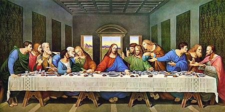 Ісус Христос з апостолами у вечір перед розп'яттям. Фреска «Тайна вечеря» у монастирі домініканців Санта Марія делле Ґраціє у м. Мілані, художник Леонардо да Вінчі, 1495–1497