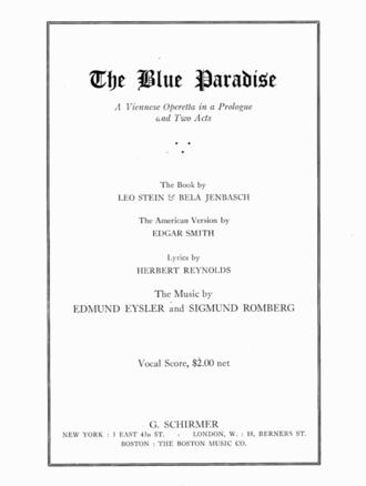 The Blue Paradise - Original vocal score