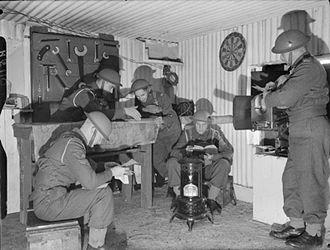 G Parachute Battery (Mercer's Troop) Royal Horse Artillery - Gunners of 'G' Battery (Mercer's Troop), Royal Horse Artillery, inside a pillbox, 29 October 1940 (IWM H5110)