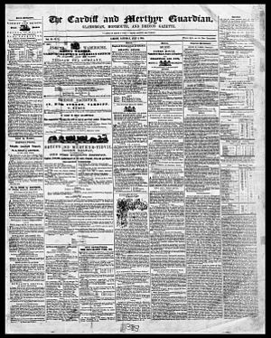 Merthyr Tydfil - Front page of the earliest surviving copy of the Welsh newspaper The Cardiff and Merthyr Guardian; 5 July 1845