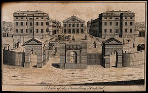 A print of the foundling hospital in London