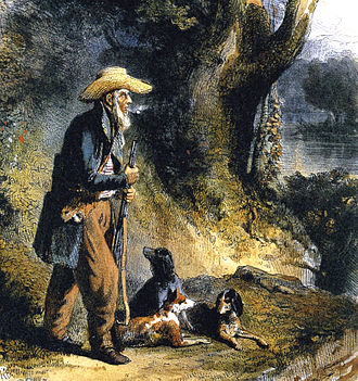 Charles Alexandre Lesueur - The Great Traveller Charles Alexandre Lesueur in the Forest. Lithograph after the watercolor: Lesueur, the Naturalist at New Harmony by Karl Bodmer, circa 1832-1834.