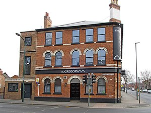 The Gregory, a pub converted to student flats (geograph 3746272).jpg