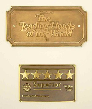 "Star (classification) - ""Five-star superior"" rating at the Hotel Vier Jahreszeiten Kempinski in Munich, Germany"