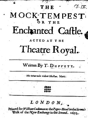 "The Mock Tempest - Front Page of Thomas Duffett's ""The Mock-Tempest, Or the Enchanted Castle."" The British Library. 1675."