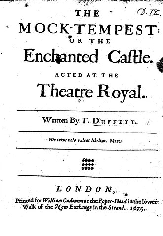 """The Mock Tempest - Front Page of Thomas Duffett's """"The Mock-Tempest, Or the Enchanted Castle."""" The British Library. 1675."""