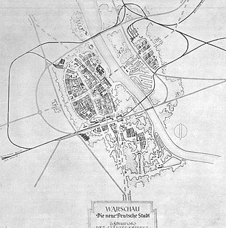 "Destruction of Warsaw - Plan for Neue deutsche Stadt Warschau (""New German city of Warsaw"")"