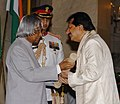 The President, Dr. A.P.J. Abdul Kalam presenting Padma Shri to renowned ghazal singer Shri Pankaj Keshubhai Udhas, at investiture ceremony in New Delhi on March 29, 2006.jpg