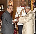 The President, Shri Pranab Mukherjee presenting the Padma Shri Award to Shri Dattatrey Narayan Alias Aappasaheb Dharmadhikari, at the Civil Investiture Ceremony, at Rashtrapati Bhavan, in New Delhi on April 13, 2017.jpg