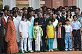 The President of India, Smt. Pratibha Patil and the former President, Dr. A.P.J. Abdul Kalam with children after the Guard of Honour at Rashtrapati Bhavan, in New Delhi on July 25, 2007.jpg