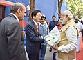 The Prime Minister, Shri Narendra Modi being welcomed at the venue to attend the Maritime India Summit, in Mumbai.jpg