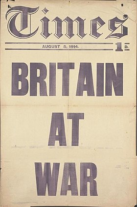 The Times placard Britain at War Aug 1914.jpg
